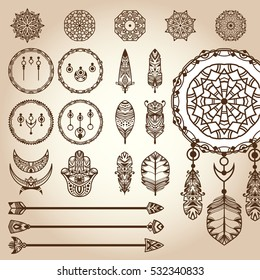Dreamcatcher design elements. Set of different vector parts of decorative dreamcatcher: frame ring (hoop), feathers, weaving ornaments, arrows. For design bohemian projects, tattoo and boho prints
