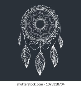 Dreamcatcher with feathers and branches. Sweet dream. Native American Indian talisman. Vector hand drawn illustration isolated on white background. Boho design, tattoo art.