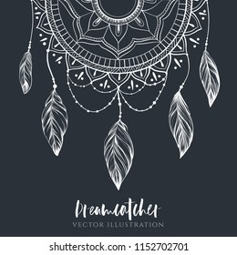 Dreamcatcher with feathers and branches. Sweet dream. Native American Indian talisman. Vector hand drawn illustration. Boho design, tattoo art.
