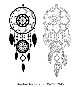 Dreamcatcher with feathers outline illustration