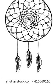 Dreamcatcher with feathers vector illustration, dreamcather mandala, dreamcatcher for coloring, black and white  dreamcatched drawing, hand-drawn dreamcatcher with feathers, mandala drawing
