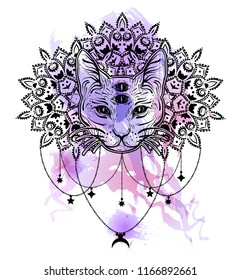 Dreamcatcher with four eyed cat. Vintage boho style.