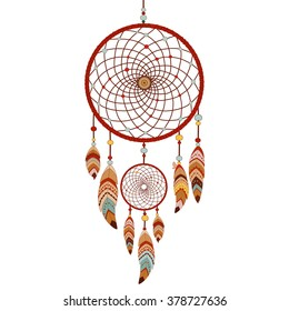 Dreamcatcher isolated on white background. Native american indian dream catcher. Colorful logo vector illustration