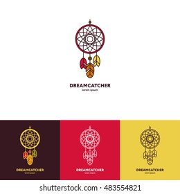 Dreamcatcher logo with feathers and beads. Four options. Logo on a light background, logo on a dark background, colorful logo and linear