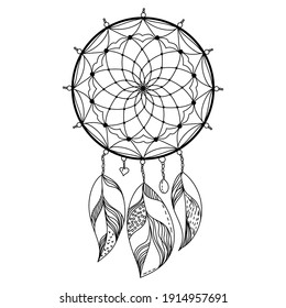 Dreamcatcher made of threads and beads with light feathers, outline coloring page or decorative element vector illustration