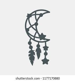 Dreamcatcher moon ethnic cut vector