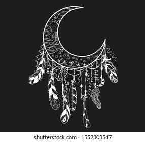 Dreamcatcher. Mystic symbol. Abstract hand drawn dreamcatcher. Black and white illustration