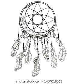 Dreamcatcher on white. Abstract mystic symbol. Design for spiritual relaxation for adults. Line art creation. Black and white illustration for coloring