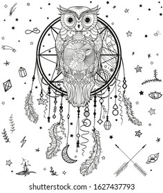 Dreamcatcher on white. Abstract owl. Mystic symbol with patterned bird. Black and white illustration