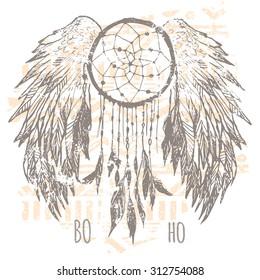 Dreamcatcher print , t-shirt graphics , vectors