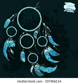 Dreamcatcher, Set of ornaments, feathers and beads. Native american indian dream catcher, traditional symbol. Feathers and beads on black background. Vector decorative elements hippie.