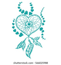 Dreamcatcher in the shape of a heart with a feather hand-drawn for Valentine's Day