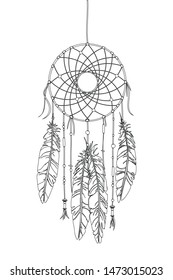 Dreamcatcher vector drawing outlined over white background
