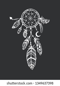 Dreamcatcher. Vector hand drawn. Boho tribal collection