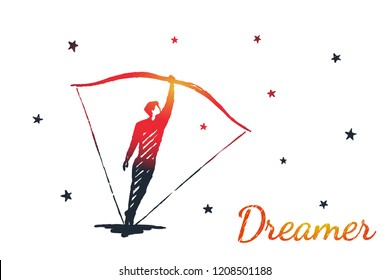 Dreamer concept art sketch. A man instead of an arrow stands inside the bow and takes aim at the night sky. Vector hand drawn illustration.