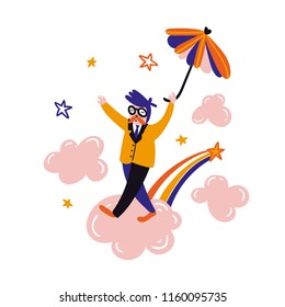 Dreamer flying umbrella. Relax card design. Vector cute office worker walking on pink clouds.