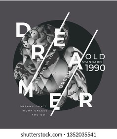 dreamer graphic slogan with b/w antique angel statue illustration