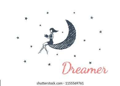 Dreamer, lifestyle concept sketch. Young and beautiful girl is sitting on the moon and reading a book. Vector hand drawn illustration.