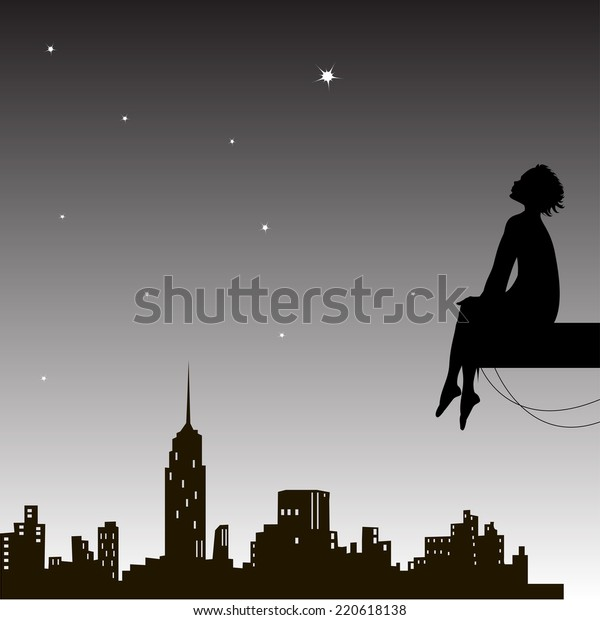 dreamer sits and looks up the night city sky, boy looks at the star, black and white