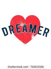 Dreamer. text and heart t-shirt graphic.