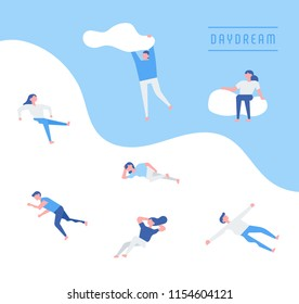 Dreamers lying on the clouds. flat design style vector graphic illustration set
