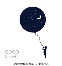 Dreaming boy Concept idea. Good night . Vector illustration.EPS 8