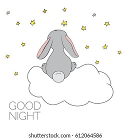 Dreaming bunny. Card with Cute bunny. Concept idea. Good night. Can be used for kid's. Vector Ilustration EPS 8