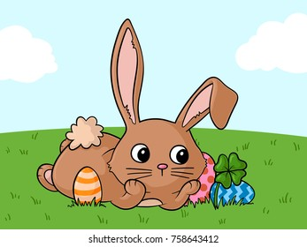 Dreaming Comic Easter Bunny with lots of Easter Eggs