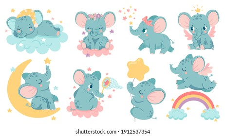 Dreaming elephant. Baby elephants sleep on cloud and moon, catch star or fly over rainbow. Magic animal girl with crown and wings vector set. Cute characters with bows and flowers on head