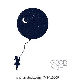 Dreaming girl Concept idea. Good night .vector illustration.EPS 8