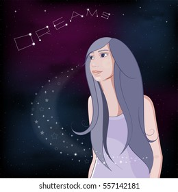 Dreaming girl on night  shiny sky background. Realistic girl looks up at the stars. Vector Illustration.