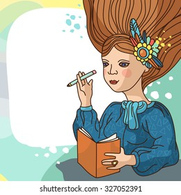 Dreaming girl with a sketchbook and pencil on her hand. She has a flowers on her long hair and a blue scarf on her heck. Good for illustration women stories.