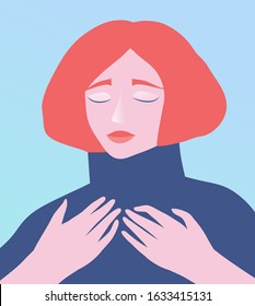 Dreaming redhead lady with eyes closed romantic portrait. Feminine woman face and hands, raised in grief, sorrow or relief, soul modern flat vector design.
