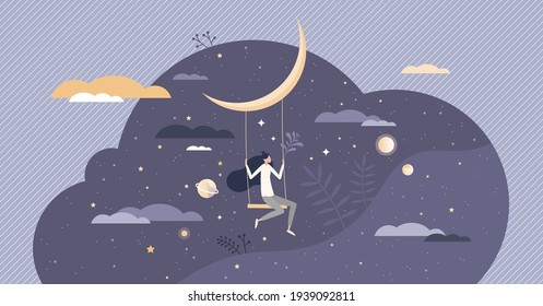 Dreaming with sweet night dreams as bedtime relax sleep tiny person concept. Hanging with swings on moon as fly in fantasy around cosmos and universe vector illustration. Blue sky in midnight harmony.