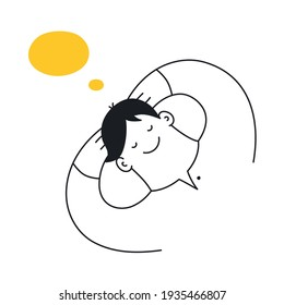 Dreaming, thinking man lying and imaging with a cartoon doodle bubble. Thin outline vector illustration of cute character on white background.
