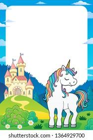 Dreaming unicorn theme frame 2 - eps10 vector illustration.