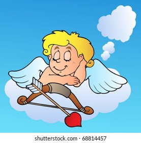 Dreaming Valentine Cupid with bow - vector illustration.