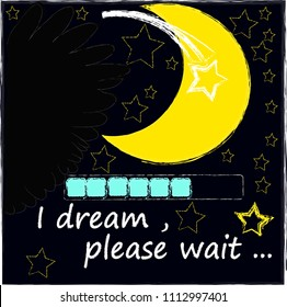 I dream,please wait.Night scene with moon,stars,shooting star and wings from the owl.Nature.