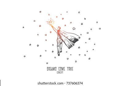 Dreams come true concept. Hand drawn man catch a star. Happy man achieved the goal isolated vector illustration.