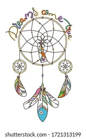 Dreams come true. Ornate dream catcher with feathers. Vector abstract illustration, modern line style. Background or greeting card with place for your text