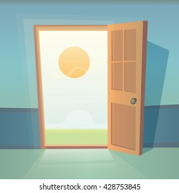 Dreams comes true. Open door vector illustration. Landscape with entrance and sun. Cartoon exit and summer