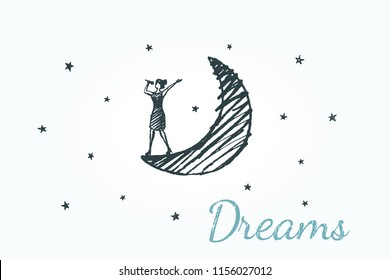 Dreams, lifestyle concept sketch. The singer in the dress sings into the microphone, standing on the moon in the night starry sky. Vector hand drawn illustration.