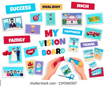 Dreams vision board concept with success and travel symbols flat isolated vector illustration