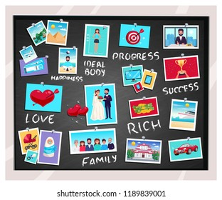 Dreams vision chalkboard with success and family symbols flat isolated vector illustration