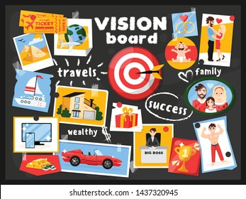 Dreams vision map chalkboard composition with cartoon style images pinned to black board with text captions vector illustration