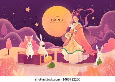 Dreamy color tone mid autumn festival, Chang'e and jade rabbit enjoy moon watching and sit on mooncake