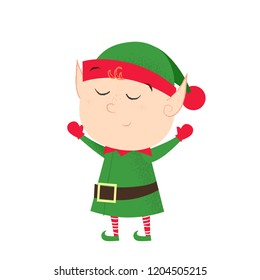 Dreamy cute elf raising hands. Helper, awe, hope. Cartoon concept. Can be used for greeting cards, posters, leaflets and brochure