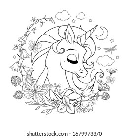 Dreamy cute sleeping unicorn surrounded with flowers and butterflies. Vector black and white illustration for coloring page.
