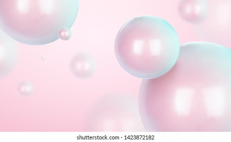 Dreamy glossy sphere floating in the air, 3d illustration