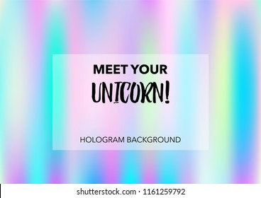 Dreamy Hologram Gradient Vector Background. Luxury Trendy Dreamy Pearlescent Color Overlay. Rainbow Holographic Princess, Fairytale, Cute Girlie Texture. Unicorn Fairy Tale Cute Hologram Gradient